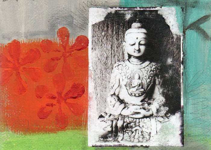 Buddha Greeting Card featuring the painting Namaste by Linda Woods
