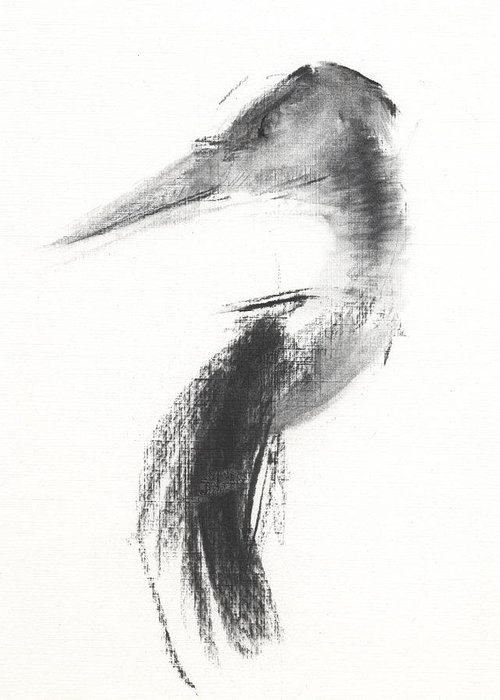 Heron Greeting Card featuring the drawing Rcnpaintings.com by Chris N Rohrbach