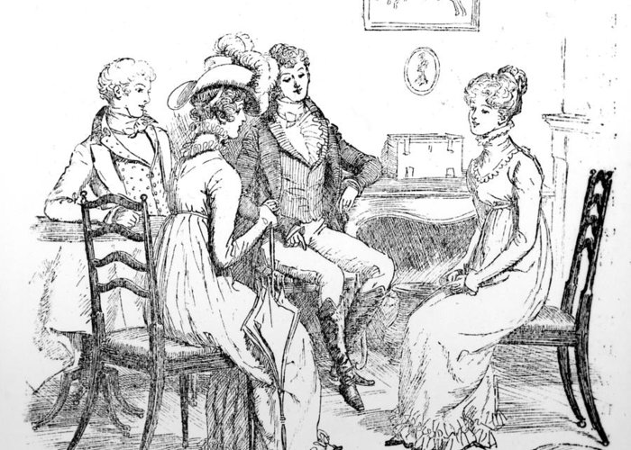 To Make Herself Agreeable To All; Illustration; Pride And Prejudice; Jane Austen; Edition; Illustrated; Elizabeth Bennet; Bennett; Georgiana Darcy; Conversing; First Meeting; Conversation; Mr; Darcy; Darcy's; Sister; Mr; Bingley; Lambton; Inn; Interior; Talking; Georgian; Regency; Costume Greeting Card featuring the drawing Scene From Pride And Prejudice By Jane Austen by Hugh Thomson