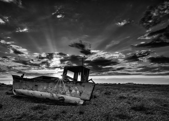 Long Exposure Greeting Card featuring the photograph Stunning Black And White Image Of Abandoned Boat On Shingle Beac by Matthew Gibson
