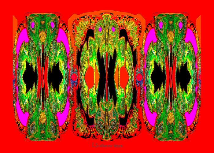 922 Greeting Card featuring the digital art 922 - A Psychedelic View ... by Irmgard Schoendorf Welch