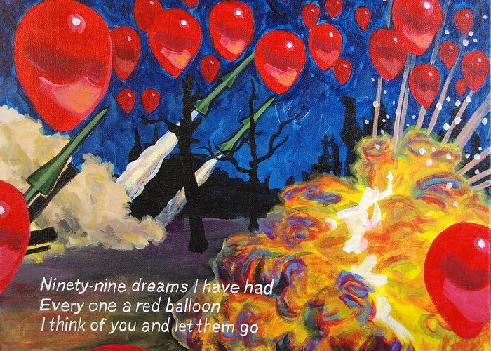 99 Red Balloons Greeting Card For Sale By Tommy Midyette