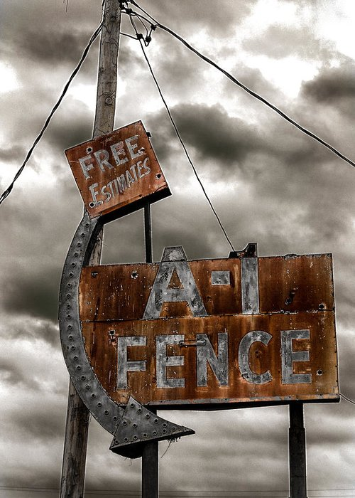 Arrow Greeting Card featuring the photograph A-1 Fence by Robert FERD Frank