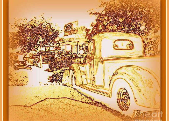 Classic Car Greeting Card featuring the photograph A And W Drive In by Bobbee Rickard