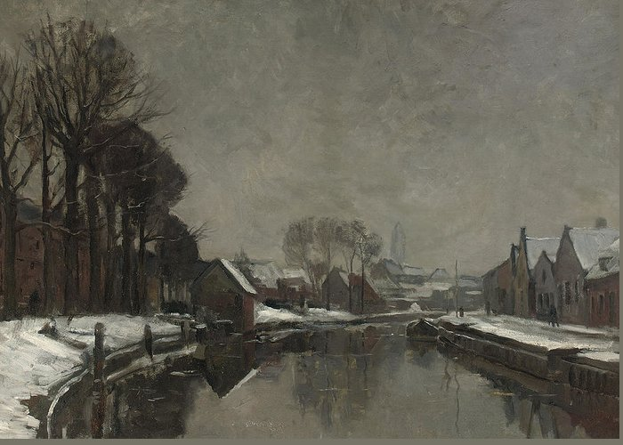 Belgian Greeting Card featuring the painting A Belgian Town In Winter by Albert Baertsoen