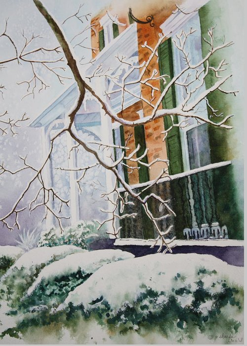 Snow Scene Landscape Greeting Card featuring the painting A Blanket Of Snow by Patsy Sharpe