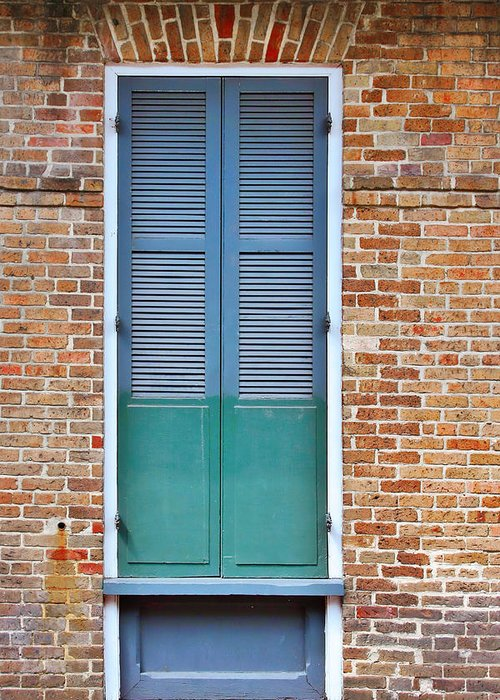 Front Greeting Card featuring the photograph A Blue Door In New Orleans by Christine Till