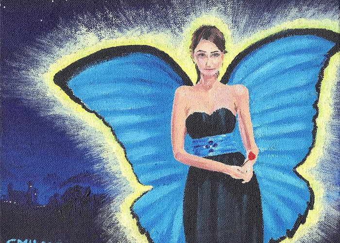 Faerie Greeting Card featuring the painting A Blue Fairy by Glenn Harden