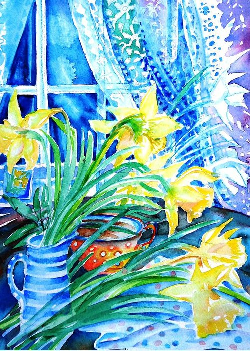 Bouquet Greeting Card featuring the painting A Bouquet Of April Daffodils by Trudi Doyle