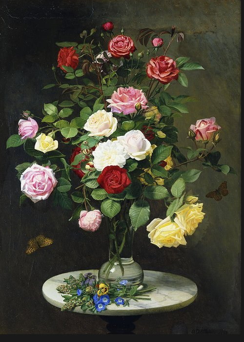 Still-life Greeting Card featuring the painting A Bouquet Of Roses In A Glass Vase By Wild Flowers On A Marble Table by Otto Didrik Ottesen