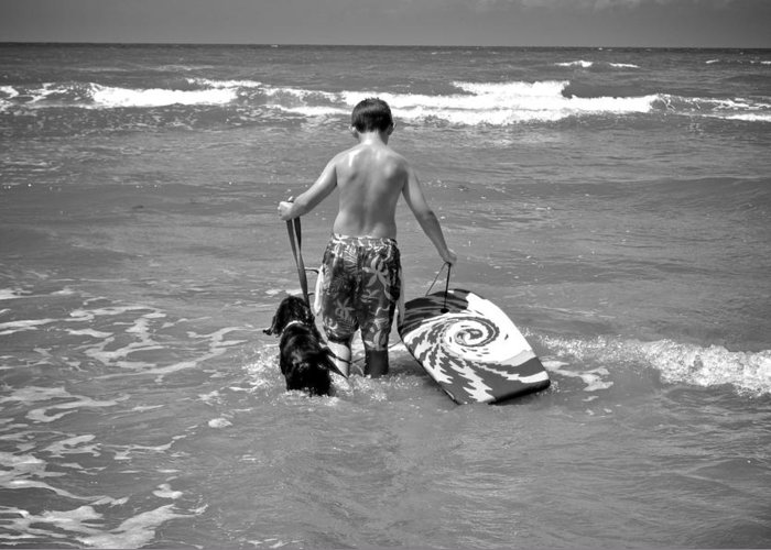 Surf Greeting Card featuring the photograph A Boy And His Dog Go Surfing by Kristina Deane