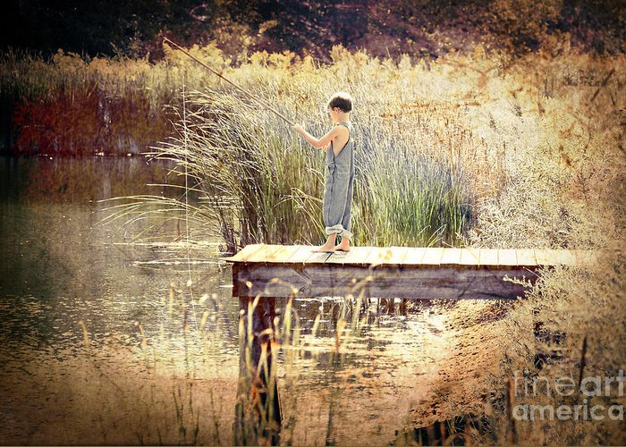 Activity Greeting Card featuring the photograph A Boy Fishing by Jt PhotoDesign