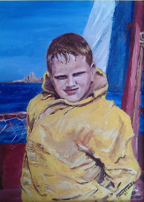 Boat Greeting Card featuring the painting A Boy On A Boat by Jack Skinner