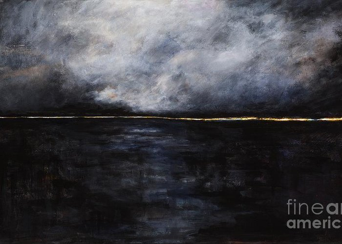 Ocean Landscapes Greeting Card featuring the painting A Break In The Skyline by Frances Marino