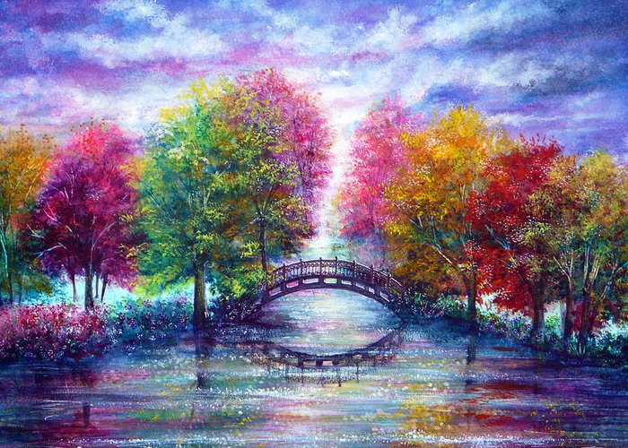 Nature Greeting Card featuring the painting A Bridge To Cross by Ann Marie Bone