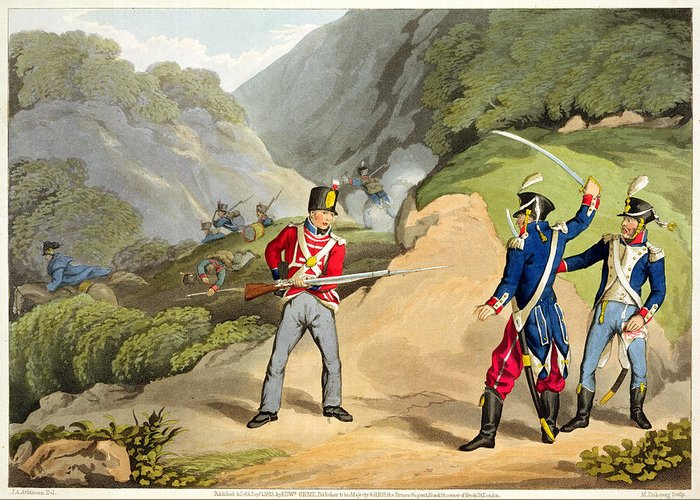 Redcoat Greeting Card featuring the drawing A British Soldier Taking Two French by John Augustus Atkinson