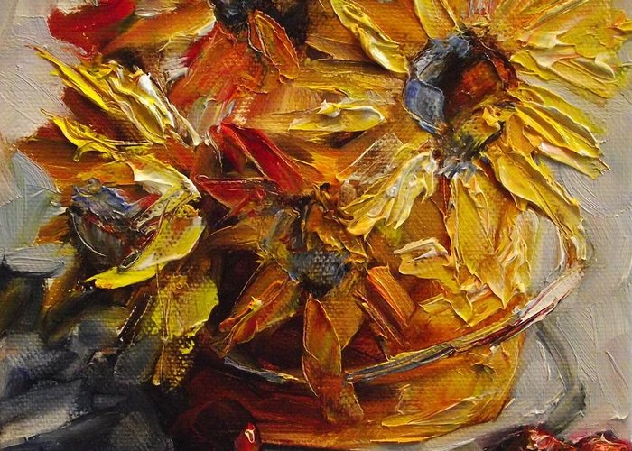 Flowers Greeting Card featuring the painting A Bucket Full Of Gold by Angela Sullivan