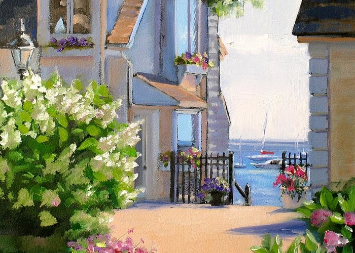 Seascape Greeting Card featuring the painting A Cape Cod Paradise by Laura Lee Zanghetti