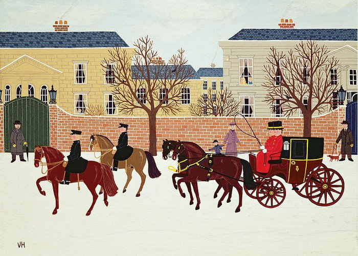 Contemporary Greeting Card featuring the painting A Carriage Escorted By Police by Vincent Haddelsey