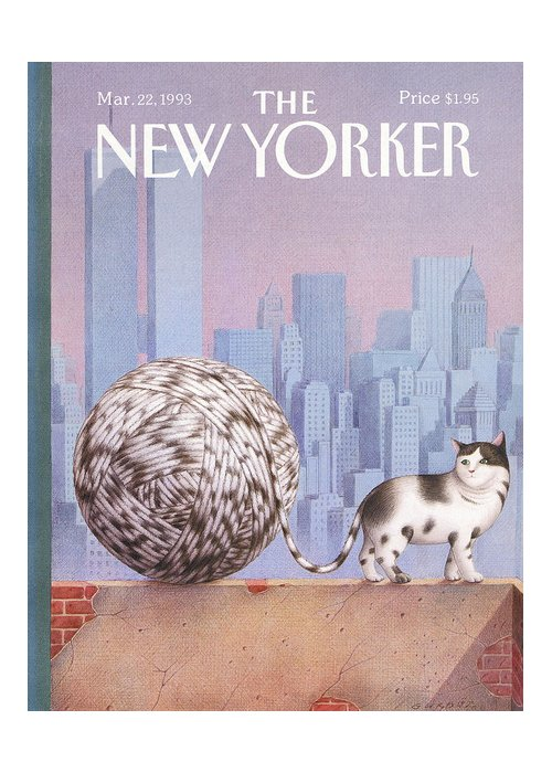 Cat Greeting Card featuring the painting New Yorker March 22, 1993 by Gurbuz Dogan Eksioglu