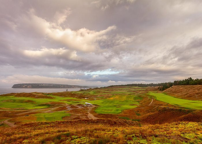 Us Open Greeting Card featuring the photograph A Chambers Bay Morning by Ken Stanback