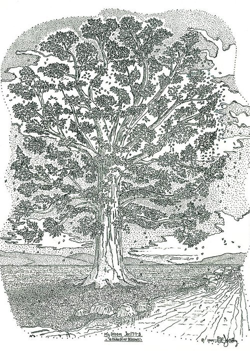Landscape Greeting Card featuring the drawing A Change Of Seasons by Glenn McCarthy Art and Photography