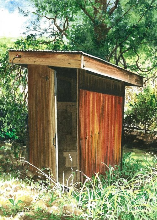 Outhouse Greeting Card featuring the painting A Childhood Memory by Barbara Jewell