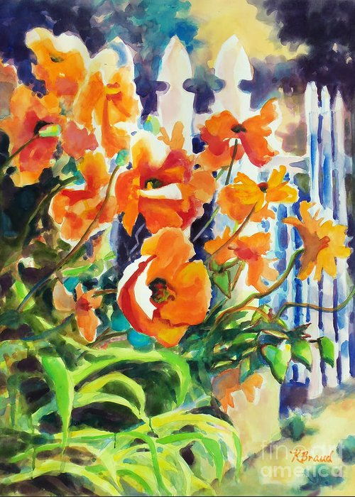 Paintings Greeting Card featuring the painting A Choir Of Poppies by Kathy Braud
