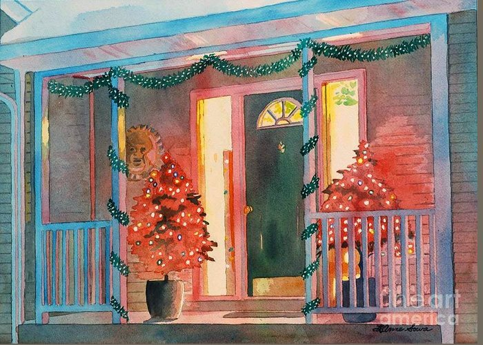 Christmas Greeting Card featuring the painting A Christmas At Home, House Prints, Porch Prints, House Paintings, House Prints, Christmas Paintings, by LeAnne Sowa
