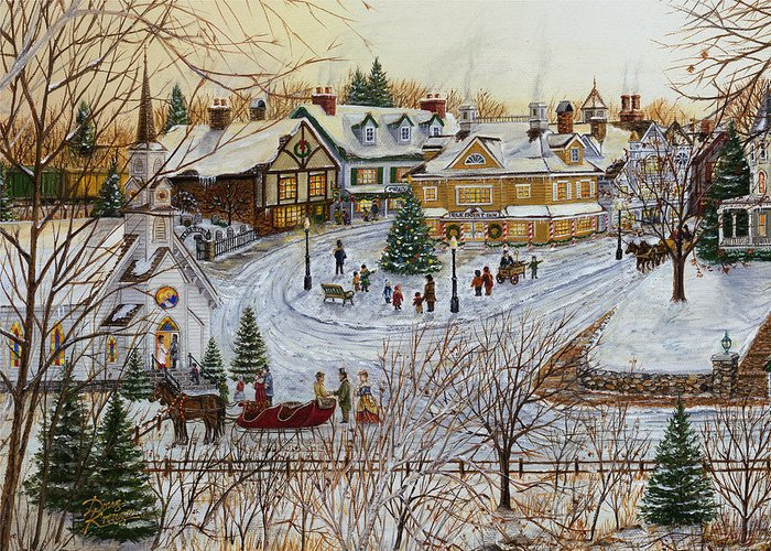 Sleigh Ride Greeting Card featuring the painting A Christmas Village by Doug Kreuger