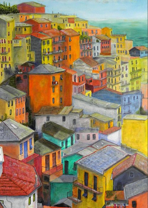 Seaside Greeting Card featuring the painting A Cinque Terre Village by Dan Bozich