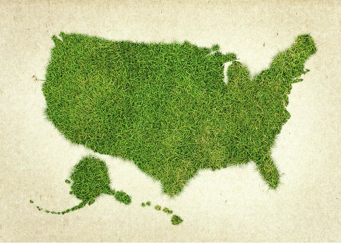 Map Of The United States Greeting Card featuring the photograph United State Grass Map by Aged Pixel