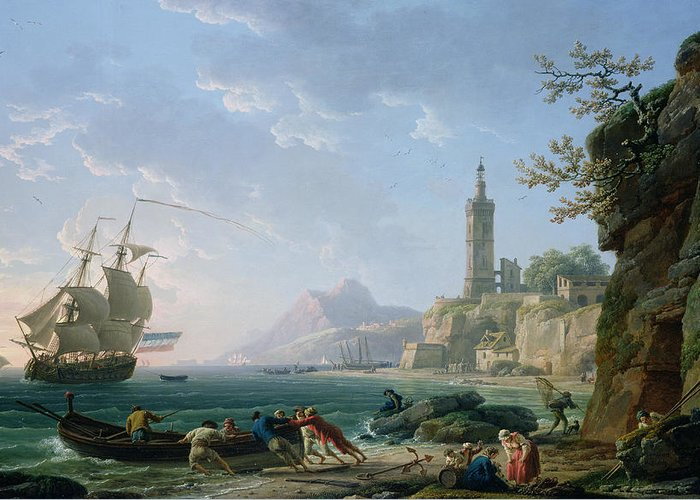 Ship Greeting Card featuring the painting A Coastal Mediterranean Landscape by Claude Joseph Vernet
