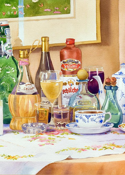 Drinks Greeting Card featuring the painting A Collection Of Drinks by Mary Helmreich