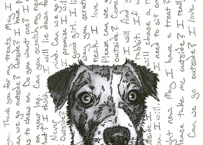 Dog Greeting Card featuring the mixed media A Conversation With A Jack Russell Terrier by Salvadore Delvisco