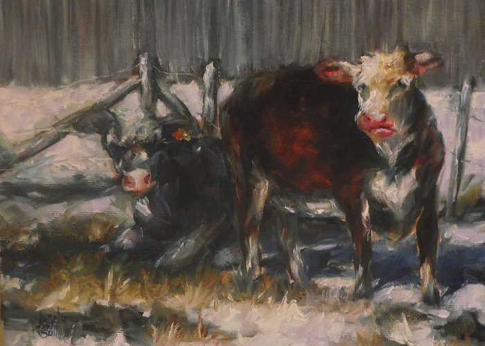 Cow Greeting Card featuring the painting A Cool Day In The Sun by Angela Sullivan