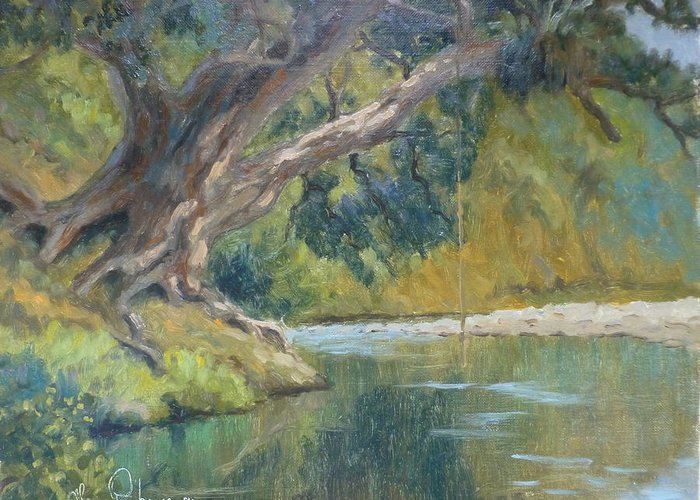 Rivers Greeting Card featuring the painting A Coramandel Stream by Terry Perham