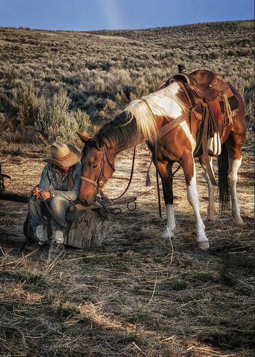 Sombrero Ranch Greeting Card featuring the photograph A Cowgirls Best Friend by Pamela Steege