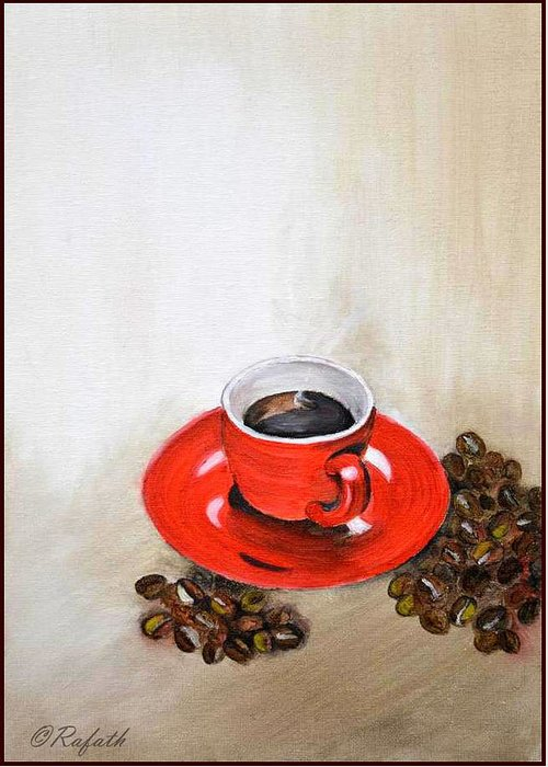 Coffee Greeting Card featuring the painting A Cup Of Coffee by Rafath Khan