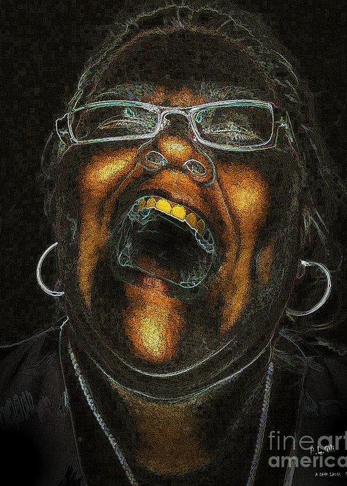 Death Greeting Card featuring the digital art A Dark Laugh by Pedro L Gili