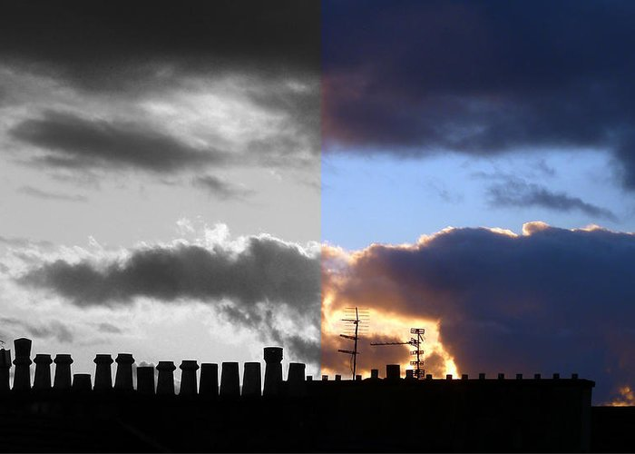 B&w And Colour Skyscape Greeting Card featuring the photograph A difference of opinion by Baato