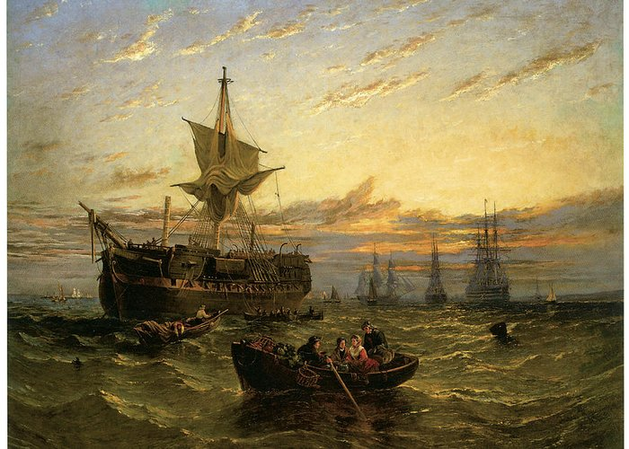 William Adolphus Knell Greeting Card featuring the painting A Dismantled East Indiaman In The Thames Estuary by William Adolphus Knell