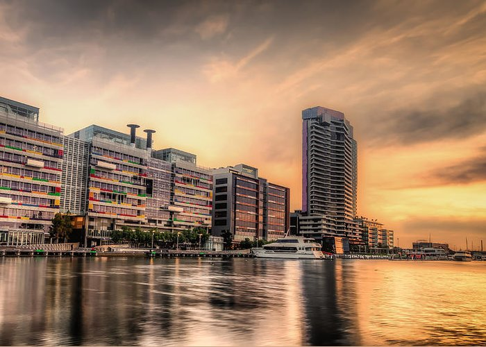 Melbourne Greeting Card featuring the photograph A Docklands Sunset by Paradigm Blue