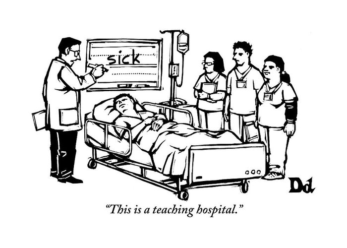 Teach Greeting Card featuring the drawing A Doctor Writes The Word Sick On A Blackboard by Drew Dernavich
