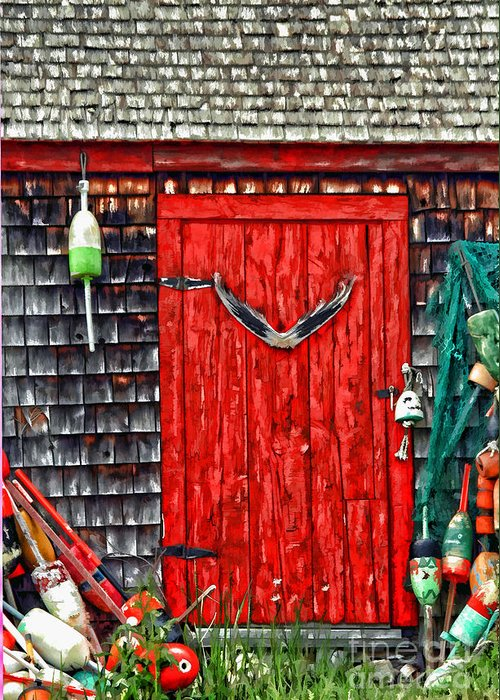 American Greeting Card featuring the photograph A Door In Maine by Darren Fisher
