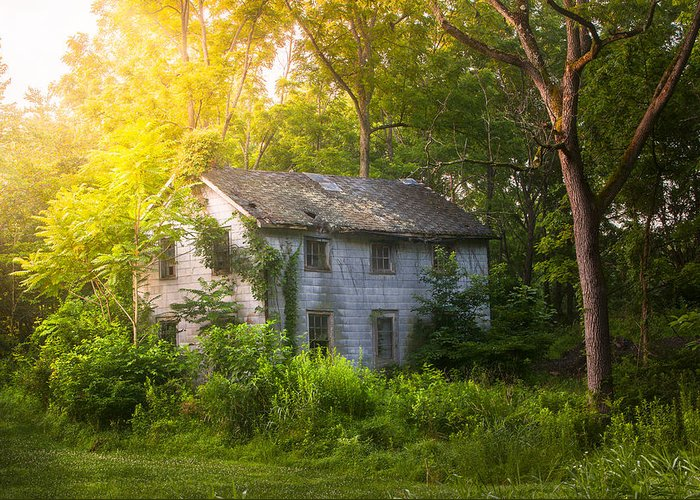 Old House Greeting Card featuring the photograph A Fading Memory One Summer Morning - Abandoned House In The Woods by Gary Heller