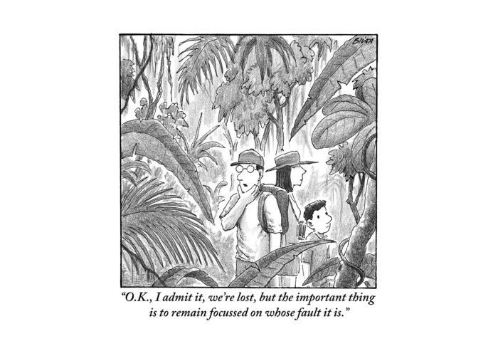 Lost Greeting Card featuring the drawing A Family Is Lost In The Depths Of A Jungle by Harry Bliss