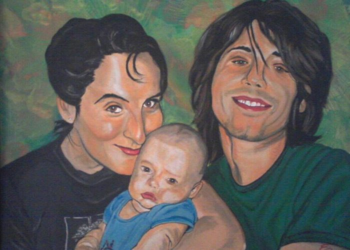 Portrait Painting Greeting Card featuring the painting A Family Portrait by Edward Pebworth