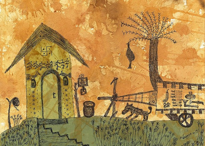Rural Greeting Card featuring the painting A Farm In India With Hut And Bull Cart by Nikunj Vasoya
