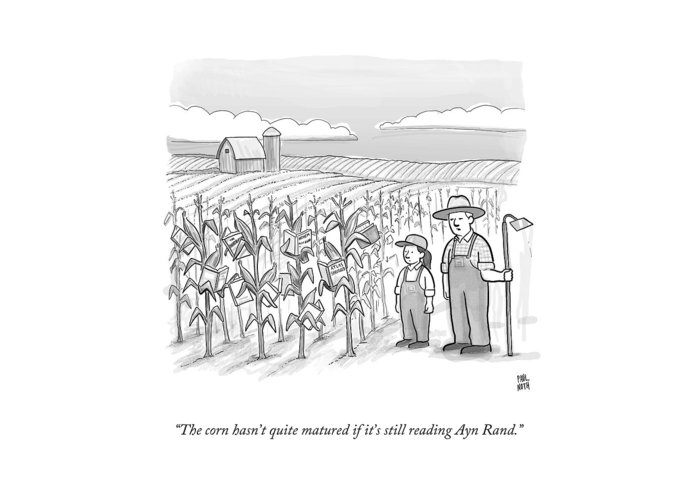 Corn Stalks Greeting Card featuring the drawing A Farmer And His Daughter Look At Cornstalks Who by Paul Noth